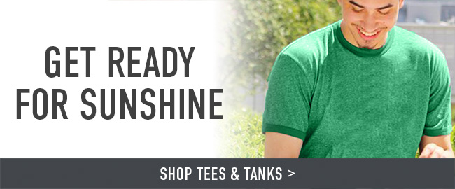 Picture of man. Get ready for sunshine. Click to shop Tees & Tanks.